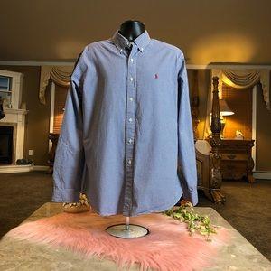 Ralph Lauren Blue & White Plaid Button Down XL